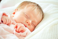 Sleeping baby newborn close up portrait Stock Photography