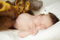 Sleeping baby, newborn girl Royalty Free Stock Image