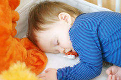 sleeping baby with pacifier Royalty Free Stock Images