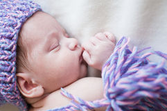 Sleeping baby in purple hat top view portrait Royalty Free Stock Photography