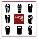 Sleeping bag icons set. Set of monochrome silhouette sleeping bag icons. Collection of stylized simplified symbols.  Black and white Vector illustration Royalty Free Stock Image