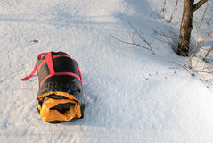 Sleeping bag in the snow Royalty Free Stock Image