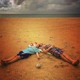 Sleeping on the beach Royalty Free Stock Image