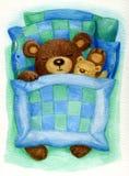 Sleeping bear. Cute sleeping baby bear in bed, watercolor on paper Stock Image