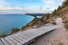 Free Sleeping Bear Dunes Overlook In Northern Michigan On Sunny Day Royalty Free Stock Photography - 112220067