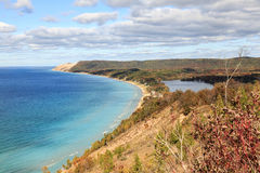 Sleeping Bear Dunes and South Bar Lake, Michigan. A view of South Bar Lake and Lake Michigan, as seen from Empire Bluff Trail. Sleeping Bear Plateau, part of Royalty Free Stock Image