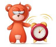Sleeping bear illustration. Funny, cute alarm clock. Vector eps 10 Royalty Free Stock Images