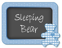 Sleeping Bear Nursery Frame. Baby teddy bear nap time bulletin board, Sleeping Bear, pastel blue gingham, polka dots for scrapbooks, albums, baby books. EPS8 Royalty Free Stock Photography