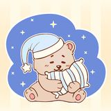 Sleeping bear with pillow Sweet Dreams cute kawaii little Teddy Bear. Good night baby Stock Illustration