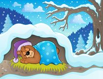 37c62c3a94a ... made with grey pencil on sepia-coloured paper · Sleeping bear theme  image 2. Eps10 vector illustration royalty free illustration
