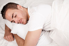 Sleeping beautiful man Stock Photo