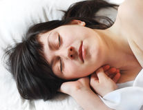 Sleeping beautiful woman Stock Photo