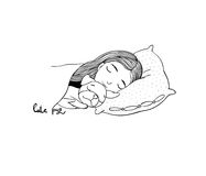 Sleeping beautiful young girl and a cute pug. Pillow and blanket. Hand drawing isolated objects on white background. Vector illustration Stock Photography