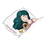 Sleeping beautiful young girl and a cute pug. Pillow and blanket. Pets. Hand drawing isolated objects on white background. Vector illustration Stock Photos