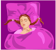 Sleeping beauty. Vector illustration of sleeping girl with red hair Royalty Free Stock Photo