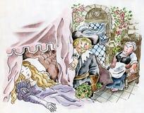 Sleeping Beauty. Watercolor comic illustration Royalty Free Stock Photography