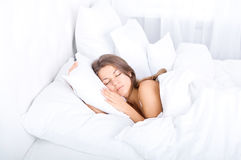 Sleeping beauty. Bedtime collection: sleeping beauty woman Stock Photography