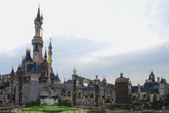 Sleeping beauty castle in the park Disneyland Paris Royalty Free Stock Photography