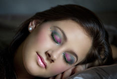 Sleeping beauty in fantasy makeup Royalty Free Stock Photo
