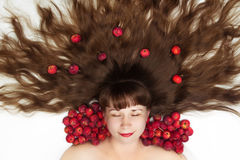 Sleeping beauty with long hair top view Stock Images