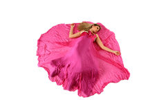 Blond girl with pink dress Stock Images