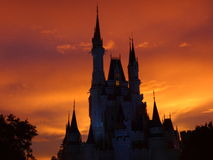 Sleeping Beauty's Castle at sunset Royalty Free Stock Images