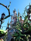Sleeping Beauty's Halloween Castle. Disney's Sleeping Beauty Castle at Disneyland Paris France that has been taken over for halloween by the evil characters Stock Photo