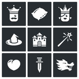 Sleeping Beauty, tale about a kingdom and magic icons set. Vector Illustration. Stock Photography