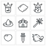 Sleeping Beauty, tale about a kingdom and magic icons set. Vector Illustration. Stock Image