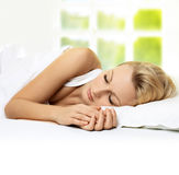 Sleeping beauty woman Stock Photos