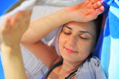Sleeping beauty - woman portrait Stock Photos