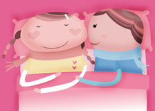 Sleeping on the bed. Sweet dream and good morning Royalty Free Illustration