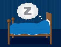 Sleeping in Bed. Sleeping in a dark blue room Royalty Free Stock Images