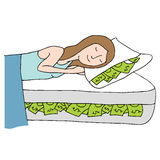 Sleeping on Bed of Cash Stock Photography