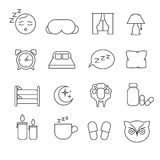 Sleeping bed time rest thin line outline vector icons Stock Images