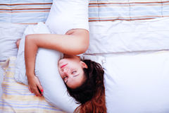 Sleeping on the Bed Royalty Free Stock Images