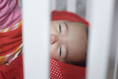 Sleeping behind the bars cot Stock Photography