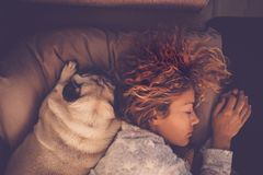 Sleeping with best friends Royalty Free Stock Photography