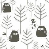 Sleeping birds in winter forest. Stock Photos
