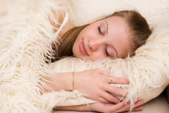 Sleeping blonde woman Stock Photo