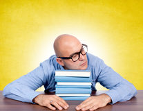 Sleeping on books Royalty Free Stock Image