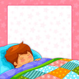 Sleeping boy. Boy sleeping over starry background with copy space Royalty Free Stock Image