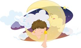 Sleeping boy. Illustration of boy sleeping on moon Stock Photo