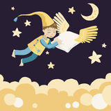 Sleeping Boy with Flying Pillow. Illustration of Sleeping Boy with Flying Pillow Stock Illustration