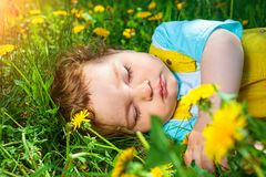 Sleeping boy on grass Royalty Free Stock Photography