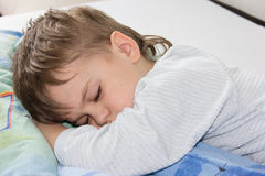 Sleeping boy son relax child childhood rest. Sleeping boy son pillow sleep Royalty Free Stock Photo