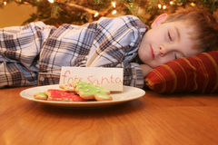 Sleeping boy waiting for Santa. Young boy sleeps under the Christmas tree while waiting for Santa Stock Photo
