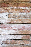 Sleeping bricks. A very old wall with erosion and white moult Stock Image