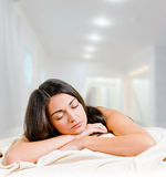 Sleeping brunette Stock Photos