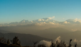 Sleeping Buddha. This is Kanchenjunga range as seen from Tonglu. It is also known as the sleeping buddha..... If you observe carefully you can find like a Royalty Free Stock Images